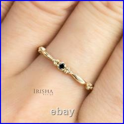 0.02Ct. Real Black Diamond Vintage Style Stackable Ring in 14K Gold Fine Jewelry
