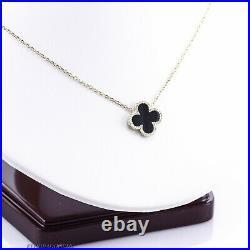 0.50 Ct Genuine Diamond Black Onyx Clover Pendant Chain Necklace 14k Yellow Gold
