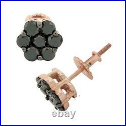 0.75ct Genuine Treated Black Diamond Cluster Flower Earrings Solid 10k Gold