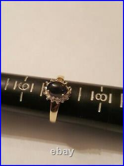 1.00 Ct Genuine Black Opal & 1/5 Ct Diamond 10kt Solid Yellow Gold Ring Size 7