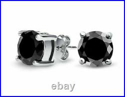 1.00 Ct Real Black Diamond Stud Earrings White Gold Sparkly