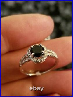 1.20 Ct Genuine Black Sapphire & 1/5 Ct Diamond 10kt Solid W Gold Ring Size 7