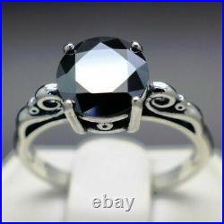 1.30 to 1.65cts Real Natural Black Diamond Scroll Ring AAA Grade & $850 Value +