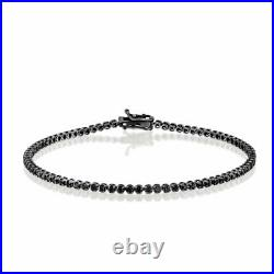 1.7 Ct Round HUGE Black Natural Real Diamond Tennis Bracelet 14K Gold + BOX GIFT