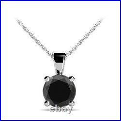 1 Carat Black Solitaire Genuine Diamond Pendant Perfect Gift 14k White Gold Sale