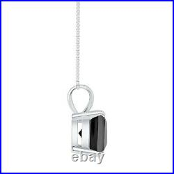 1 Ct Princess Cut Black Solid Real 14K White Gold Solitaire Pendant 18 Necklace