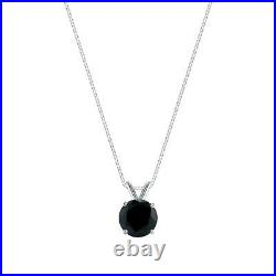 1 Ct Round Cut Black Solid Real 14K White Gold Solitaire Pendant 18 Necklace