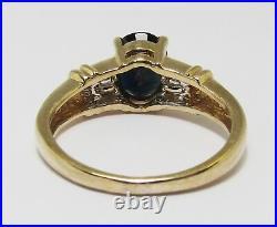 100% Genuine 9K Solid Yellow Gold 1.52 cts Sapphire & Diamond Ring Sz 6
