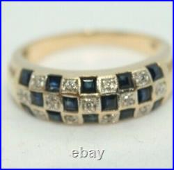 100% Genuine 9k Solid Yellow Gold Checkers Eternity Sapphire Ring 6.5 or M 1/2