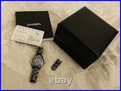 100% Genuine Chanel J12 H1625 Black Ceramic Watch With diamonds (33mm Bezel)