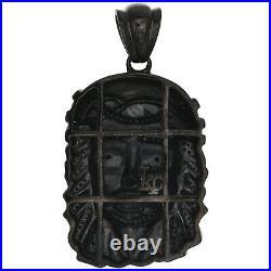 10K Gold PVD Black Genuine Diamond Jesus Face 3D Pendant 2 Mens Charm 1.15 CT