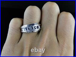 10K Mens White Gold Genuine 5 Stone Round Black Diamond Wedding Band Ring 1/2 Ct