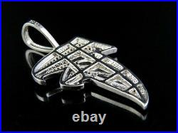 10K White Gold Real Diamonds Ruby Black Atlanta Falcon Pendant Charm 1 1/2 Ct 2