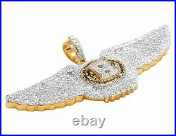 10K Yellow Gold Bentley Flying B Black Treated Real Diamond Pendant 1 1/2 Ct 1