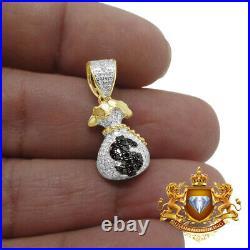 10K Yellow Gold Genuine. 33ct Black Diamond $ Money Bag Mini Pendant Charm 1'