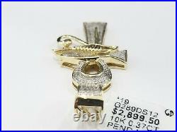10K Yellow Gold Genuine Black Diamonds Cross Pendant Charm Ank Ankh Eye Ra Egypt
