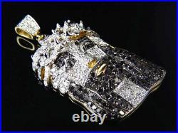 10K Yellow Gold Genuine Black & White Diamond Jesus Piece Pendant 1.50 (2.10Ct)