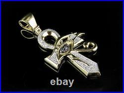 10K Yellow Gold Genuine Diamond Black Eye of Horus Ankh Cross Pendant 3/5 Ct 2