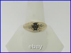 10K Yellow Gold Genuine Star Sapphire and Diamond Ring Size 10 (Estate Jewelry)