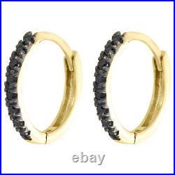 10K Yellow Gold Real Black Diamond Prong Set Hoop Earrings 0.45 Huggie 0.11 CT