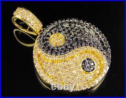 10K Yellow Gold Real Black Diamond Yin Yang Symbol Pendant Charm 1 1/2 CT 1.4