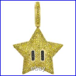 10K Yellow Gold Real Yellow Diamond Mario Super Star Pendant 1.45 Charm 0.93 CT