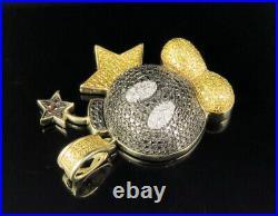 10K Yellow Gold Treated Black Canary Real Diamond Mario Bomb Pendant 2 CT 1.5