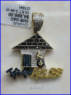 10k Gold Mens Custom Trap House Pendant Canary Purple Black Genuine Diamonds