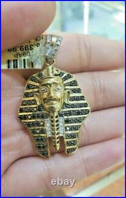 10k Yellow Gold And Diamonds Egyptian Pharaoh Head Pendant, Real Gold and Diam