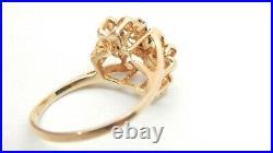10k Yellow Gold Genuine Sapphire & Diamond Spray Ring. 20 TCW Size 6 1/4