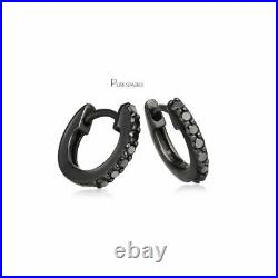 14K Black Gold 0.21 Ct. Genuine Black Diamond 12 mm Hoop Earrings Fine Jewelry