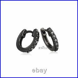 14K Black Gold 0.25 Ct. Genuine Black Diamond 12 mm Hoop Earrings Fine Jewelry
