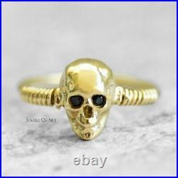 14K Gold 0.03 Ct. Genuine Black Diamond Skull Design Halloween Ring Fine Jewelry
