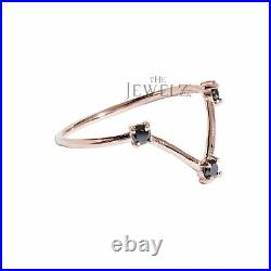 14K Gold 0.06 Ct. Genuine Three Black Diamond Minimalist Ring Fine Jewelry