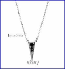 14K Gold 0.07 Ct. Genuine Black Diamond Spike Triangle Design Pendant Necklace