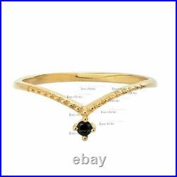 14K Gold 0.08 Ct. Genuine Black Diamond Chevron Design Ring Fine Jewelry