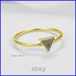 14K Gold 0.08 Ct. Genuine Black Diamond Triangle Design Ring Fine Jewelry