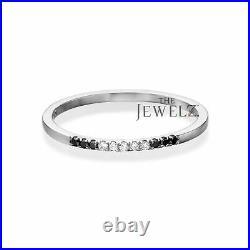 14K Gold 0.08 Ct. Genuine White-Black Diamond Wedding Engagement Band Fine Ring