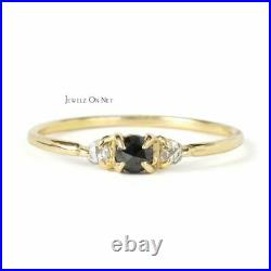 14K Gold 0.15 Ct. Genuine White And Black Rose Cut Diamond Ring Fine Jewelry