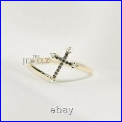 14K Gold 0.15 Ct. Genuine White-Black Diamond Jesus Cross Ring Fine Jewelry