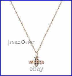 14K Gold 0.16 Ct. Genuine White-Black Diamond Bee Charm Necklace Fine Jewelry
