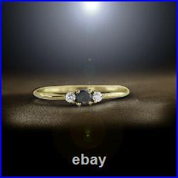 14K Gold 0.19 Ct. Genuine White And Black Diamond Wedding Ring Fine Jewelry