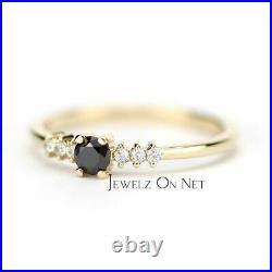 14K Gold 0.20 Ct. Genuine White And Black Diamond Wedding Ring Fine Jewelry