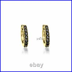 14K Gold 0.21 Ct. Genuine Black Diamond 12 mm Hoop Earrings Fine Jewelry