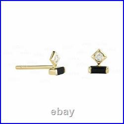 14K Gold 0.26 Ct. Genuine White And Black Diamond Studs Earrings Fine Jewelry