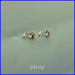 14K Gold Genuine Black Diamond 12mm Huggie Hoop Fine Jewelry Earrings
