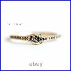 14K Gold Genuine Black Diamond-Emerald Gemstone Serpent Design Ring Fine Jewelry