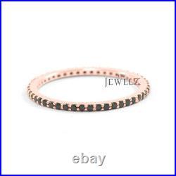 14K Gold Genuine Black Diamond Eternity Band Ring Fine Jewelry Size -3 to 9 US