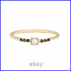 14K Gold Genuine Black Diamond-Freshwater Pearl Ring Fine Jewelry Size-3 to 8 US