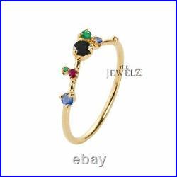 14K Gold Genuine Black Diamond Ruby Emerald Blue Sapphire Gemstone Cluster Ring